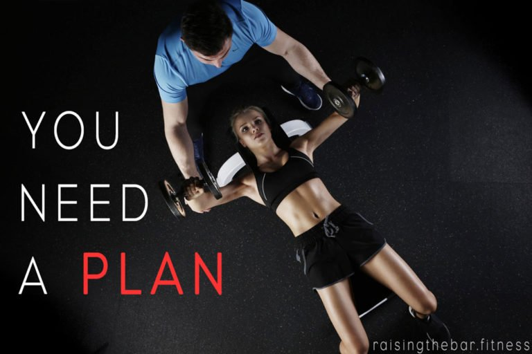 "Blog post title image showing woman lying on a bench bench pressing with a personal trainer assisting her and words saying ""you need a plan"""