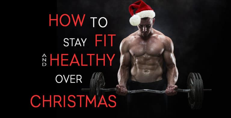 "Blog title image depicting and fit muscle man in a Christmas hat doing an ex bar curl and the words saying ""how to stay fit and healthy over Christmas"