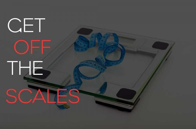 "Blog post title image showing a weighing scales with a body tape measure on it and the words ""get off the scales"""