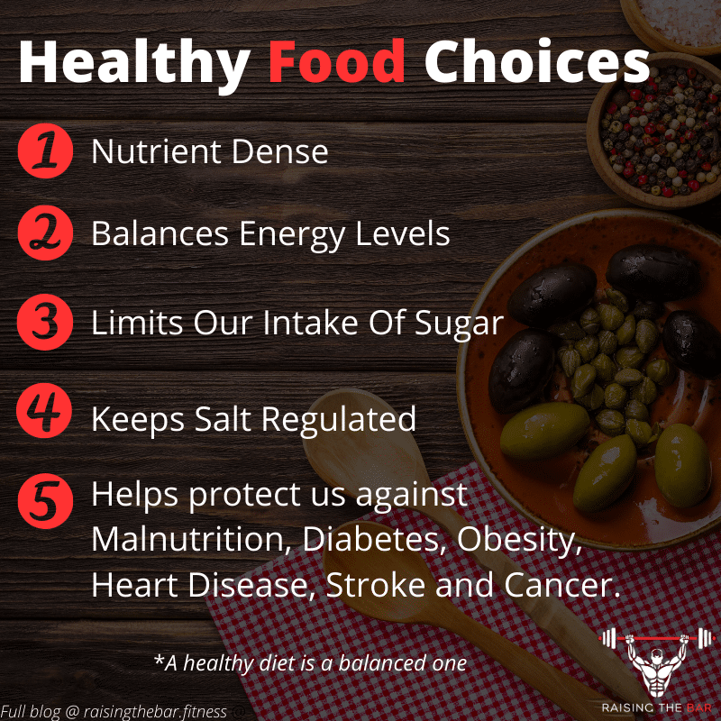 Infographic showing a list of five healthy food choices to eat healthy