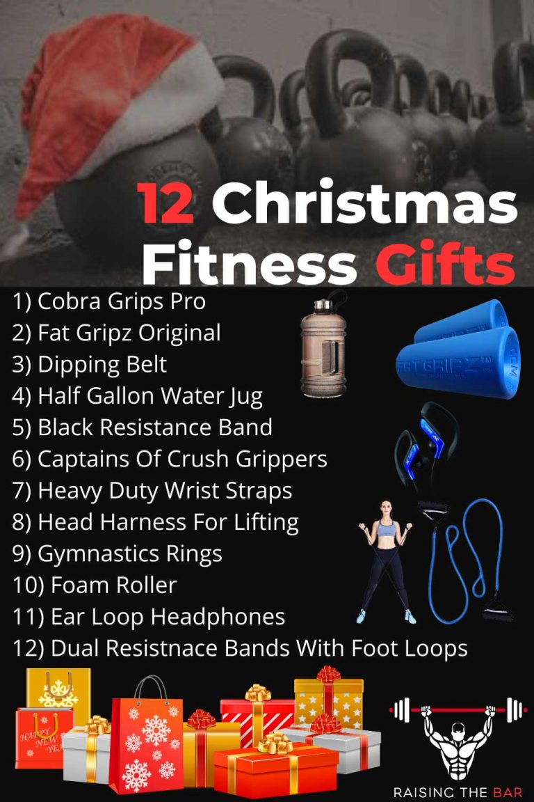 Info graphic of 12 Christmas fitness gift ideas by raising the bar fitness
