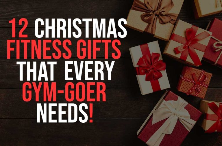 """Blog post cover image for """" 12 christmas fitness gifts"""" with presents in the background"""