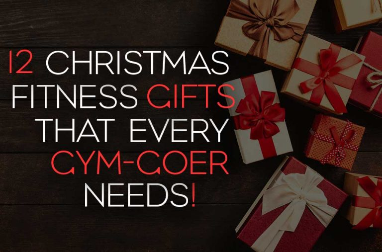 """Blog title image with presents in the background and text saying """"12 Christmas fitness gifts that every gym-goer needs"""""""