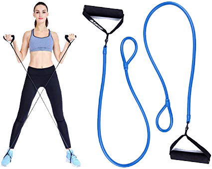 Image of a woman using foot loop resistances bands and an image of the product next to her