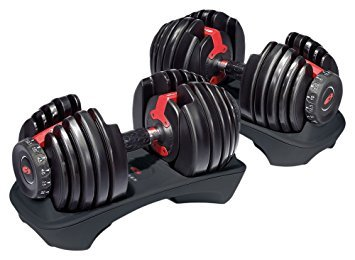 Image of bowflex adjustable dumbbells as used by raising the bar fitness