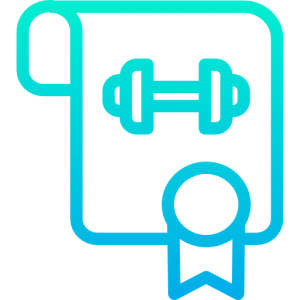 Challenge buster icon used by raising the bar fitness depicting a certificate with a dumbbell on