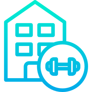 Everyday athletes icon used by raising the bar fitness depicting a house and a dumbbell