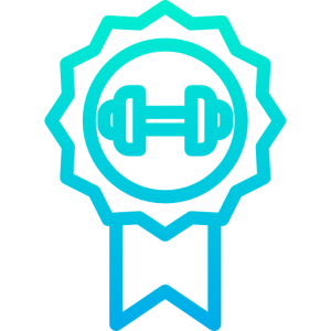 Mindset icon used by raising the bar fitness depicting a rosette with a dumbbell on