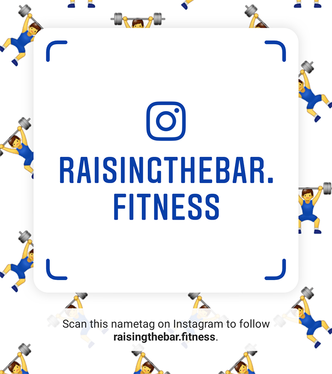 Instagram nametag linking back to the raising the bar fitness instagram page