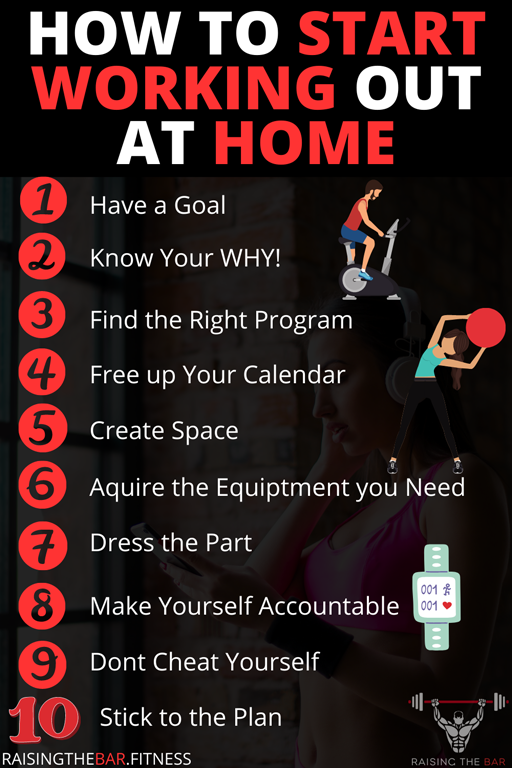 "Infographic for the blog post ""how to start working out at home"" with a visual representation list from the post"