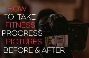 """Blog cover image with a DSLR camera screen and the words """" How to take fitness progress photos, before and after"""""""
