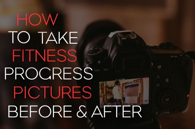 "Blog cover image with a DSLR camera screen and the words "" How to take fitness progress photos, before and after"""