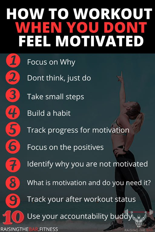 "Infographic with a visual representation of the list from "" how to workout when you don't feel motivated"""