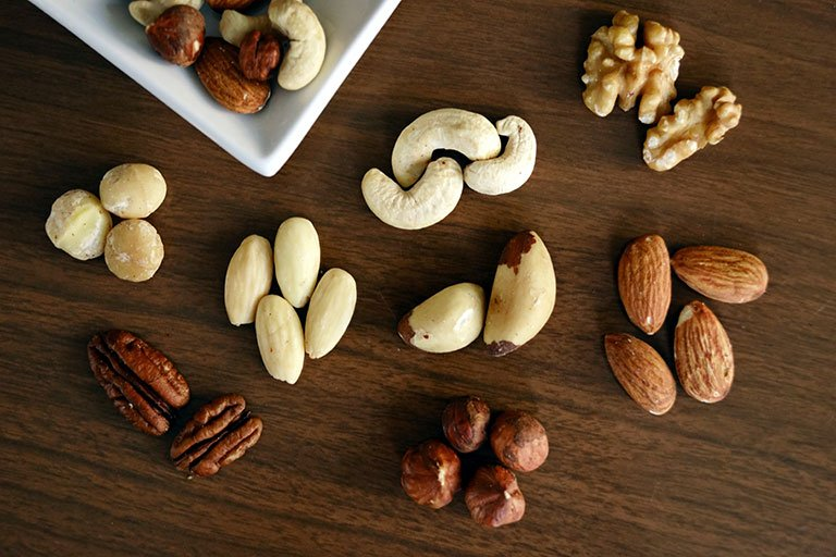 A selection of different nuts shelled