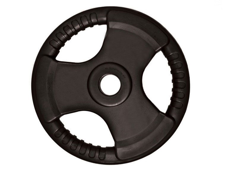 A rubber tri-grip Olympic weight plate