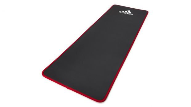 Red and black fitness mat