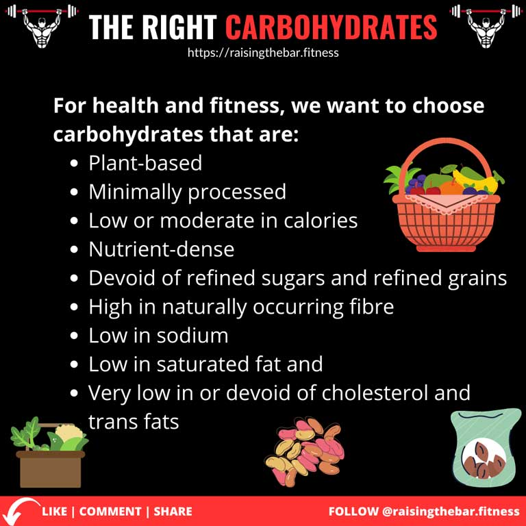 Fitness infographic with a list of how to pic the right carbohydrates