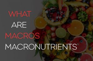 """Blog post cover image with a lot of different colored fruit with the words """"what are macros, macronutrients"""""""