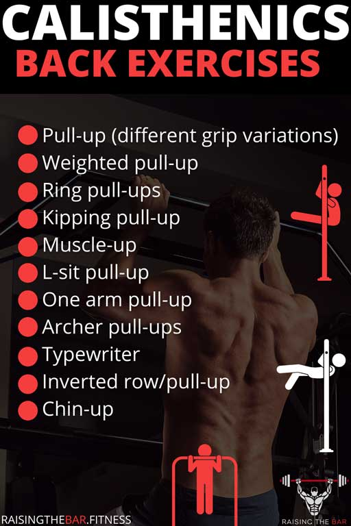 Infographic with a list of calisthenics back exercises and a few pull up images