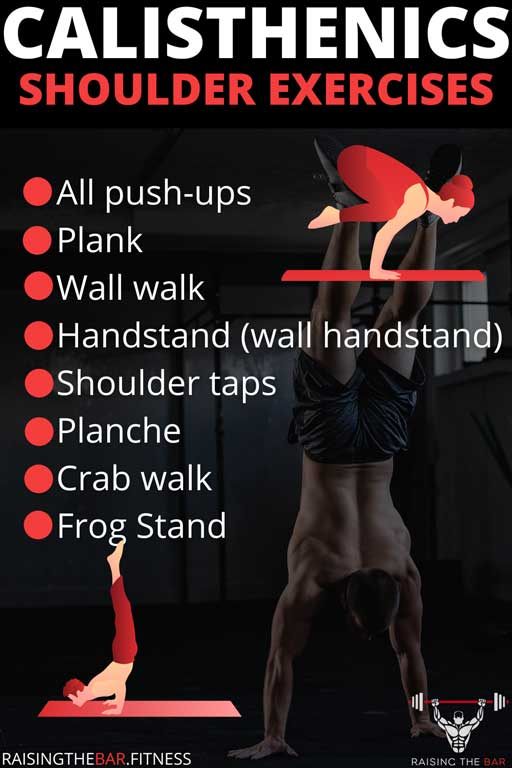 Infographic with a list of calisthenics shoulder exercises and a few handstand images