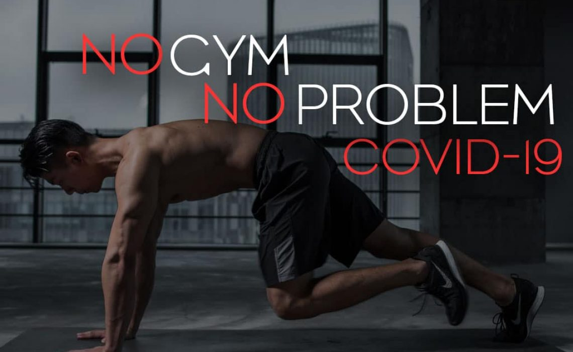 Blog post cover image showing man doing mountain climbers inside with view of city outside