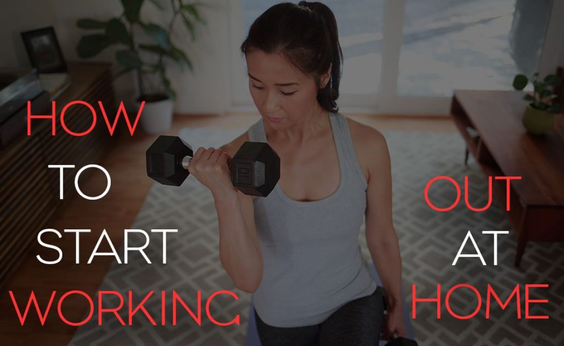 Blog post image showing a woman working out at home with the words